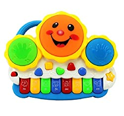 SahiBUY Drum Keyboard Musical Toys With Flashing Lights, Animal Sounds & Songs - Battery Operated Kids Toys
