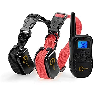 [2015 Upgraded with LED Backlight] Esky Rechargable LCD Remote Control Dog Training Shock Collar with 100 Level Shock and Vibration, US Charger Included For 2 Dogs
