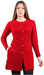 Montrex Women's Plain Coats (Montrex-6407Red, Red, XXL)