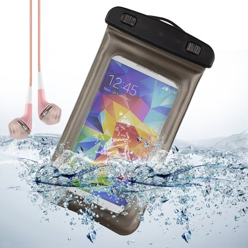 Gray Waterproof Pouch Dry Bag For Samsung Galaxy S5 / Note 2 / Lg G2 / Htc One M8 + Vangoddy Pink Headphone With Mic
