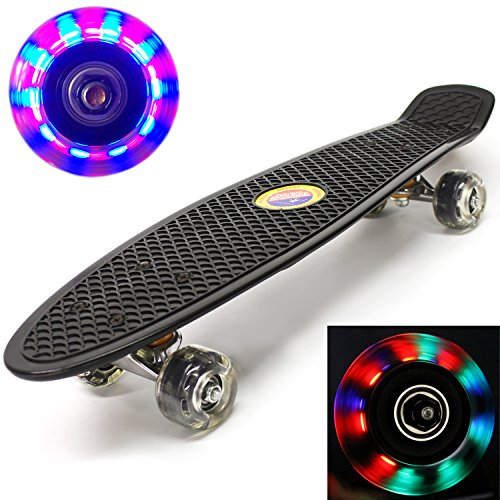 "Plastic Skateboard LED Light Up Wheels Penny Retro 22"" Mini Street Cruiser - High Strength Skate Sun Board Deck Vintage Surf, Ultra Durable & ABEC-7 Bearings (Black), 100% Money Back Guaranteed"