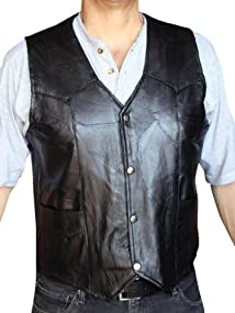 Men's Motorcycle Vest Genuine patchs Leather Black syle 950P