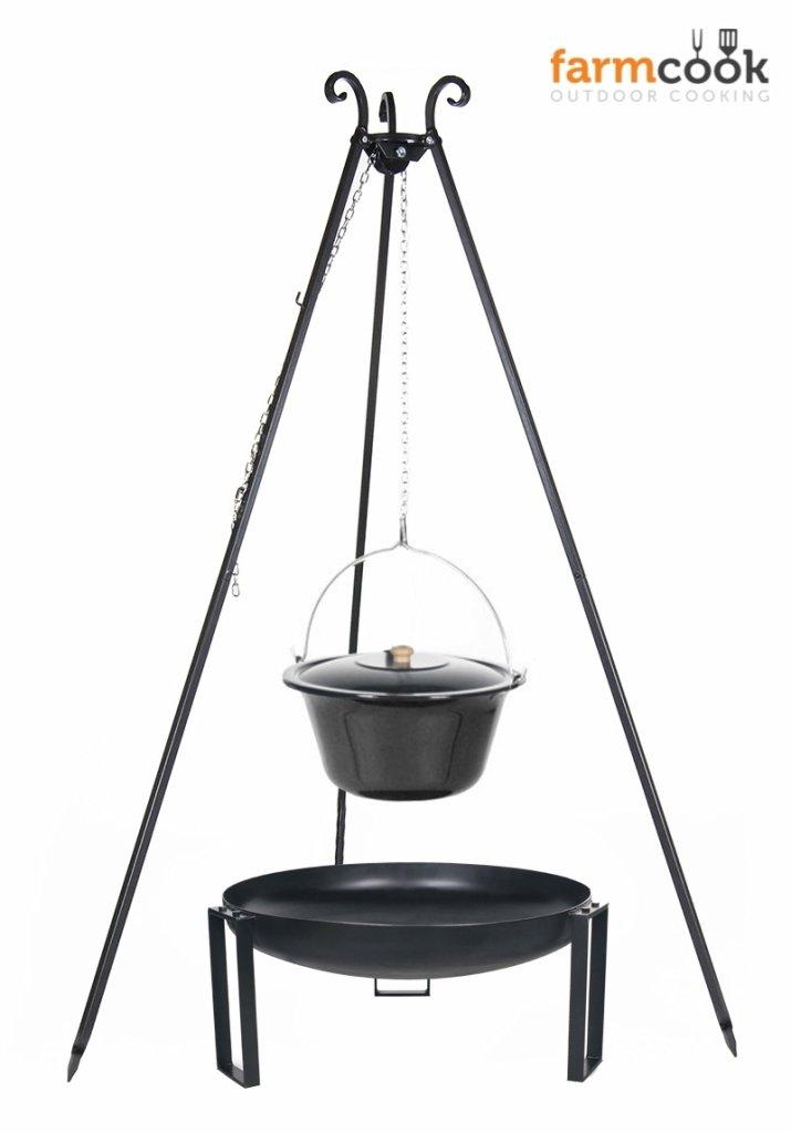 Dreibein Grill VIKING Höhe 180cm + Emaillierter Topf 10 Liter + Feuerschale Pan36 Durchmesser 60cm günstig bestellen