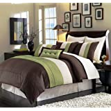 Chezmoi Collection 8-Piece Luxury Stripe Duvet Cover Set, King, Beige/Green/Brown