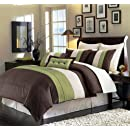 8 Pieces Beige Green And Brown Luxury Stripe Comforter 104 X 92 Bed In A Bag Set King Size Bedding