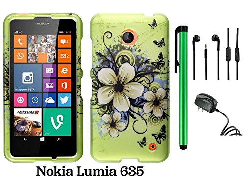 Nokia Lumia 635 (Us Carrier: T-Mobile, Metropcs, And At&T) Premium Pretty Design Protector Cover Case + Travel (Wall) Charger + 3.5Mm Stereo Earphones + 1 Of New Assorted Color Metal Stylus Touch Screen Pen (Apple Green Butterfly Flower)