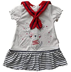 3-6 months - Baby Girls Cute White Red and Blue Striped Puppy Dog and Love Hearts Summer Short-sleeved Sailors Dress by Mini Chic