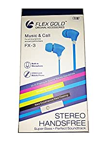 Flex Gold for Mobiles Earbud Inear Noise Free Earphones Voice Dialing Headphones 3.5mm In ear Earphone Headphone Headset Hands Free Stereo Sound In-Ear with Mic for Oneplus One iphone Samsung - BLUE