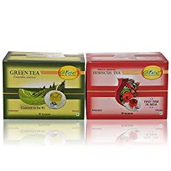 GTEE Green Tea Bags - Regular & Hibiscus Tea Bags (25 Tea bags X 2PACKS)