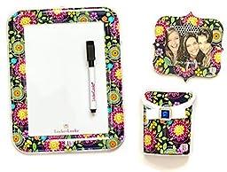 Locker Accessories Bundle by LockerLookz - Floral & Dark Navy - 3 Items: 1 Whiteboard, 1 Photo Frame, 1 Storage Bin