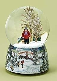 Merry Christmas Snowy Woodland Scene Music Snow Globe Glitterdome – 5.5″ Tall 100MM – Plays Tune…