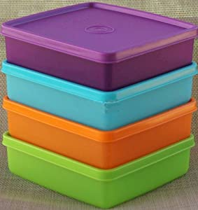 Tupperware Square Sandwich Containers. Set of Four