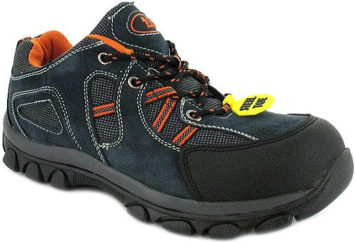 New Mens/Gents Navy Tradesafe Lace Up Steel Toe Cap Safety Shoes. - Blue Suede/Orange - UK 4-13