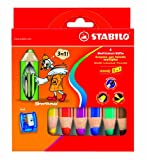 Office Product - STABILO woody 3 in 1 6er Etui mit Spitzer - Multitalent-Stift (aquarellisierbarer Buntstift)e