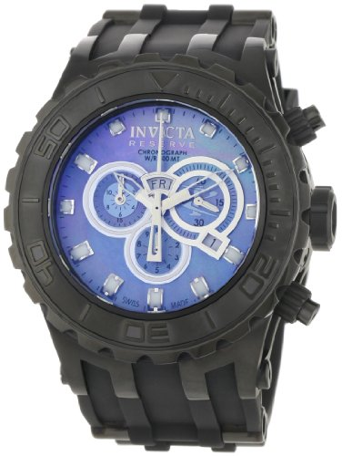Invicta Men's Reserve Specialty Chronograph Watch 0508 with IPB Case, MOP Dial and Black Rubber Strap