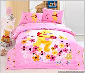 Full Queen Duvet Covers Comforter Sets 5pc Cute Pink Winnie the Pooh Bed Linens Bed Sets