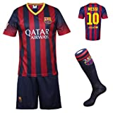 2013/2014 FC Barcelona Home Messi #10 Football Soccer Kids Jersey with FREE Shorts & Socks Set