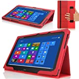 MoKo Slim Cover Case For Lenovo IdeaTab Lynx K3 / K3011 11.6 Inch Windows 8 Tablet RED (with Smart Cover Auto...