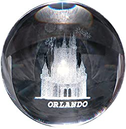 CASTLE in 3D Laser art Crystal ball globe - GREAT souvenir from ORLANDO FLORIDA