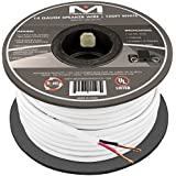 Mediabridge 14AWG Speaker Wire (100 Feet) - 99% Oxygen Free Copper (OFC) Construction - Premium High Strand Count - Sequential Foot Markings - UL Listed CL2 Rated for In-Wall Use - White - (Part# SW-14X2-100-WH )