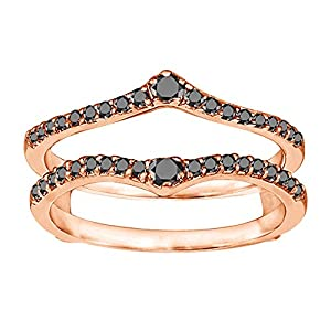 0.74CT Black Diamonds Genuine Ruby Ring Guard Enhancer set in Rose Gold Plated Sterling Silver (0.74CT TWT Black Diamonds)