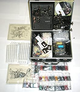 Professional 6 Guns Tattoo Kit LCD Digital Power Supply Needles 40 Colors 10ml Inks (G7)