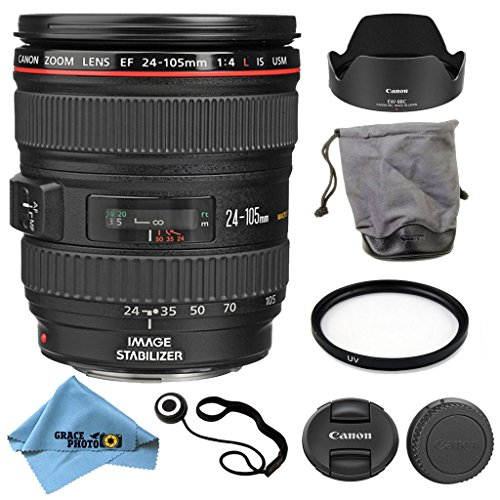 Canon EF 24-105mm f/4L IS USM Lens Kit Accessory Bundle - International Version