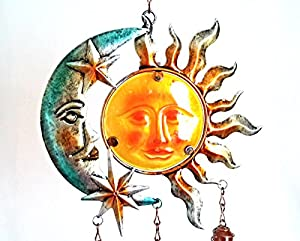 Sun Moon and Stars Wind Chime - Metal Wall Art - Metallic Coloured Metal Wall Hanging/Decoration by Cleopatra