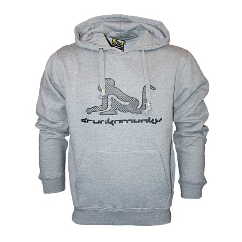 Mens Grey Hoodies Drunknmunky D6997 Designer Hooded Sweat Top Size XXL