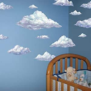 Sky clouds wall mural decals peel stick for for Clouds wall mural