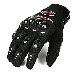 Delhi Traders Brand New Biking/Bike Racing Pro-Biker Riding Hand Gloves (Black_Large)
