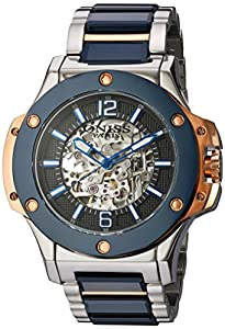 Oniss Paris Men's Japanese Automatic Stainless Steel and Ceramic Dress Watch, Color:Blue (Model: ON660-113)