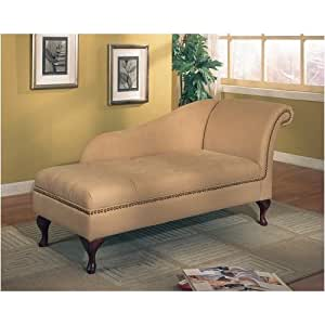 Coaster Tan Microfiber Chaise Lounger with Storage Space