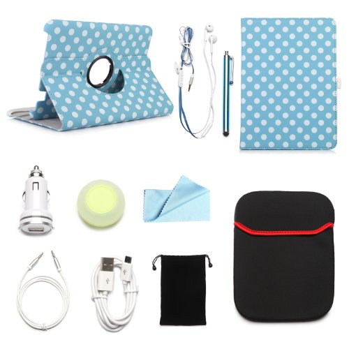 """Arion Kindle 10-Item Accessory Bundle Kit For Amazon Kindle Fire Hd 8.9"""" Tablet - 360 Rotating Stand Pu Leather Case, Cleaning Cloth, Stylus Pen,Car Charger,Usb Cable, Aux Cable, Earphone, Wire-Holding Box, Sleeve Case, Drawstring Travel Pouch (White Polk"""