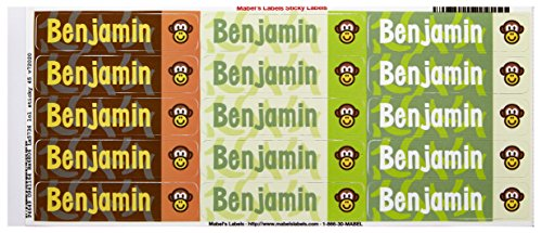 Mabel'S Labels 40845013 Peel And Stick Personalized Labels With The Name Benjamin And Monkey Icon, 45-Count front-838567