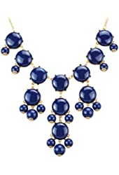 Navy Bubble Necklace, Bib Necklace, Bubble Jewelry (Fn0508-Navy)