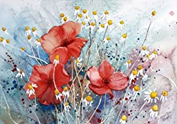 Poppies of the Field, Giclee Print of Watercolor Flower Picture, Showing Red Poppies and Chamomile in a Field in France, 10 X 13 Inches