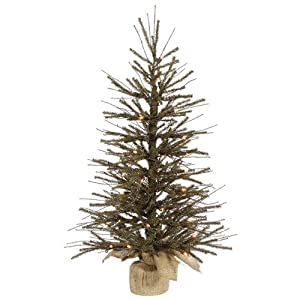 "18"" Pre-Lit Vienna Twig Artificial Christmas Tree with Burlap Base -Clear Lights"