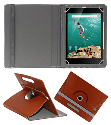 Acm Rotating 360° Leather Flip Case For Htc Google Nexus 9 Tablet Stand Cover Holder Brown  available at amazon for Rs.179