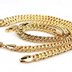 Heavy Men's Jewelry Set 24k Yellow Gold Plated Necklace Bracelet Sets 100g Solid Double Curb Chain 8m Christmas Gifts New