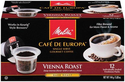 Melitta Single Cup Coffee for K-Cup Brewers, Cafe de Europa Vienna Roast, Dark Roast, 5.08 oz - 12 Count