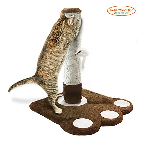 PARTYSAVING Cat Claw Scratching Sisal Post for Kittens and Cats with Toy Mouse, APL1345, Brown
