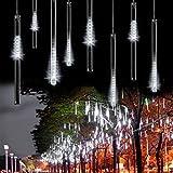 8 Falling Rain Drop/icicle Snow Fall String LED Xmas Tree Cascading Light Decor (white, US plug)