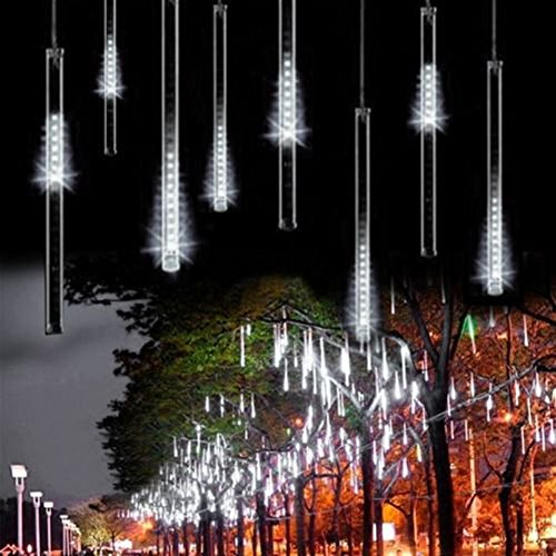 30Cm 144 Led Meteor Shower Rain Lights Waterproof 8 Tubes String For Xmas (White, Us Plug)