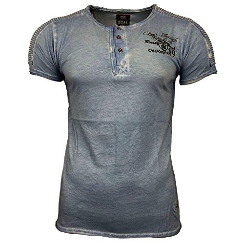 RUSTY NEAL Buttons T-Shirt Kurzarm Dunkelgrau/Blau/Petrol Clubwear NEU 6787, Farbe:Blau;Größe:XL