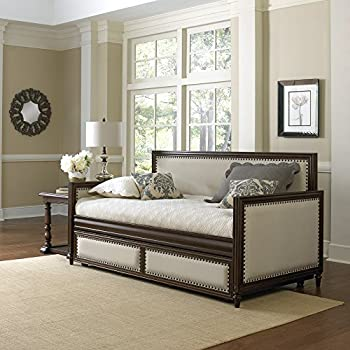 Grandover Wood Daybed with Cream Upholstered Panels and Roll Out Trundle Drawer, Espresso Finish, Twin