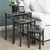 Monarch Specialties 3-Piece Nesting Table Set, Grey Marble/Charcoal Metal