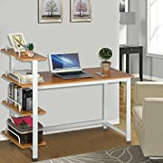Yaheetech Wood Corner Computer Desk PC Laptop Table Workstation with 4 Tiers Shelves (Brown)