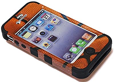 iPhone 4 Case, Bastex Heavy Duty Hybrid Case - Soft Black Silicone Cover Hard Basketball Design Case for Apple iPhone 4, 4g, 4s 4gs by Bastex