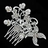 Funky Silver Bunches and Crystal Hair Comb Slide - Free Gift Pouch / Box - BH...